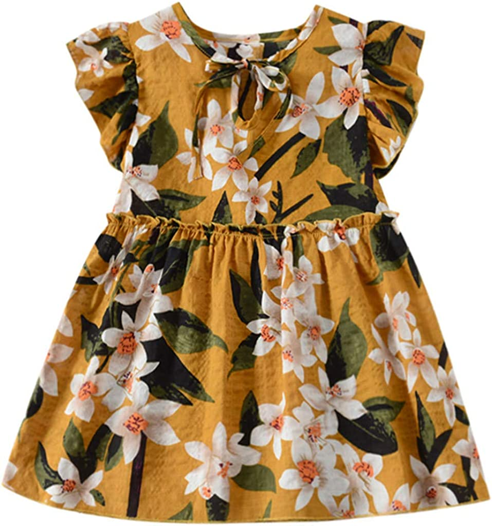 Julhold Robe de Princesse en Coton /à Manches Courtes et Rubans fronc/és Floraux pour b/éb/é Fille 0-3 Ans