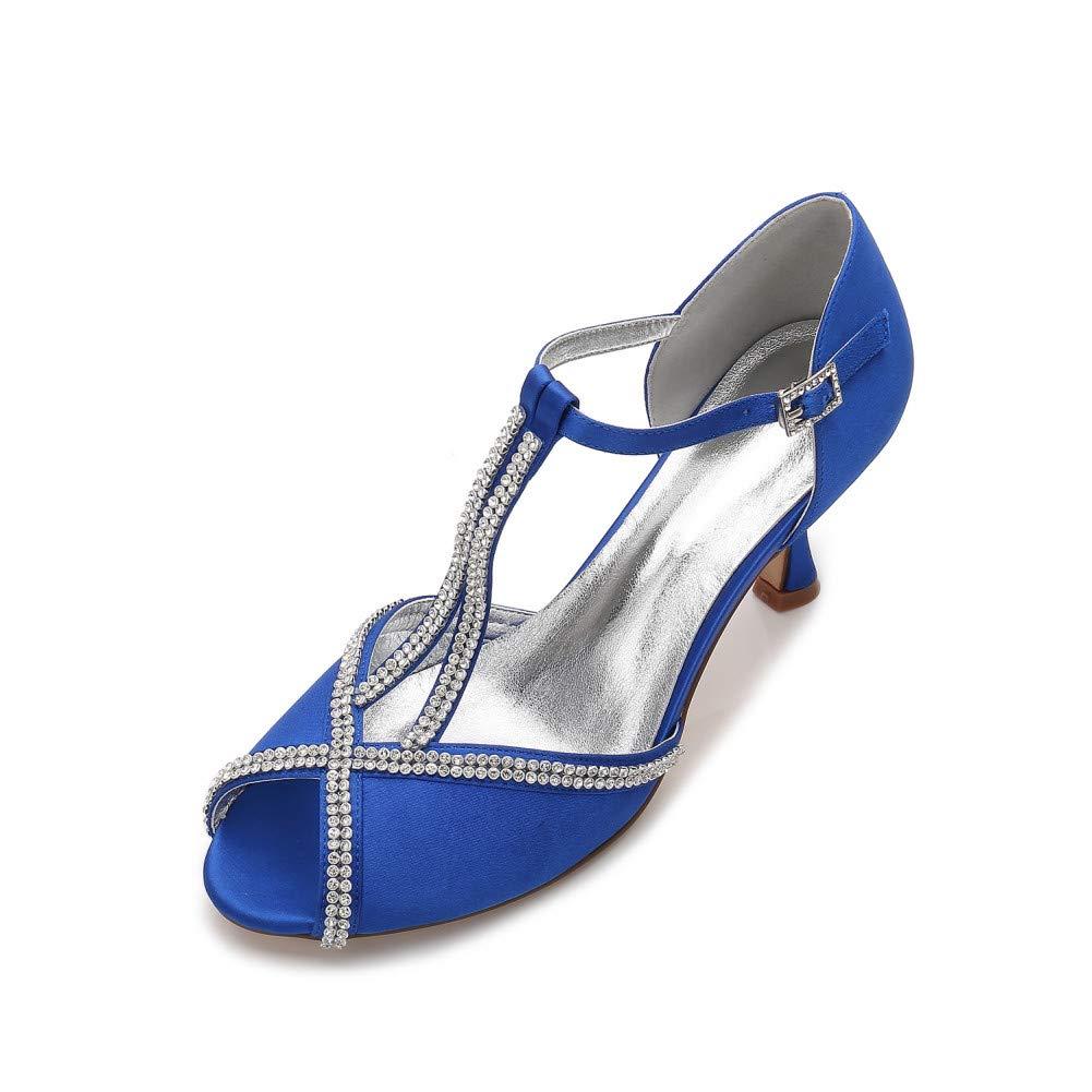 68915cded1 bluee 36 YUGUO High Heels Summer New Satin shoes Fashion Rhinestone ...