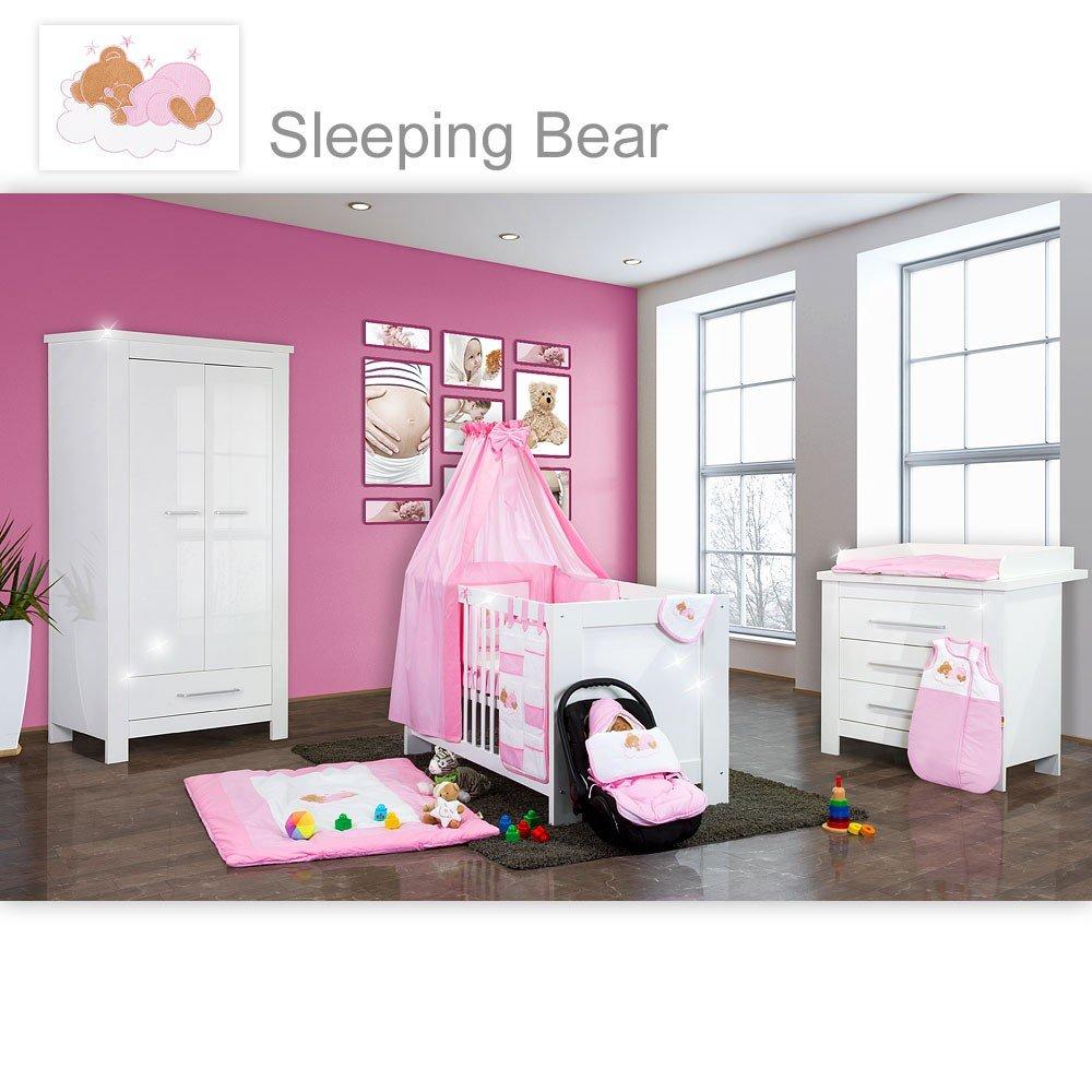 Babyzimmer Enni Hochglanz 21-tlg. mit 2 türigem Kl. + Textilien Sleeping Bear, Rosa