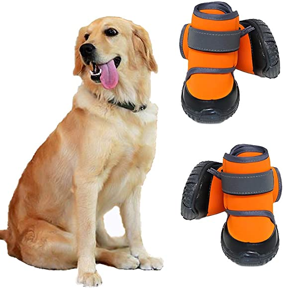 Reflective Running Hiking Pet Dog Boots Dog Shoes for Small Dogs Winter Snow Dog Booties Open with Zips and Rugged Anti-Slip Sole Paw Protectors Comfortable Suitable for Medium Dogs