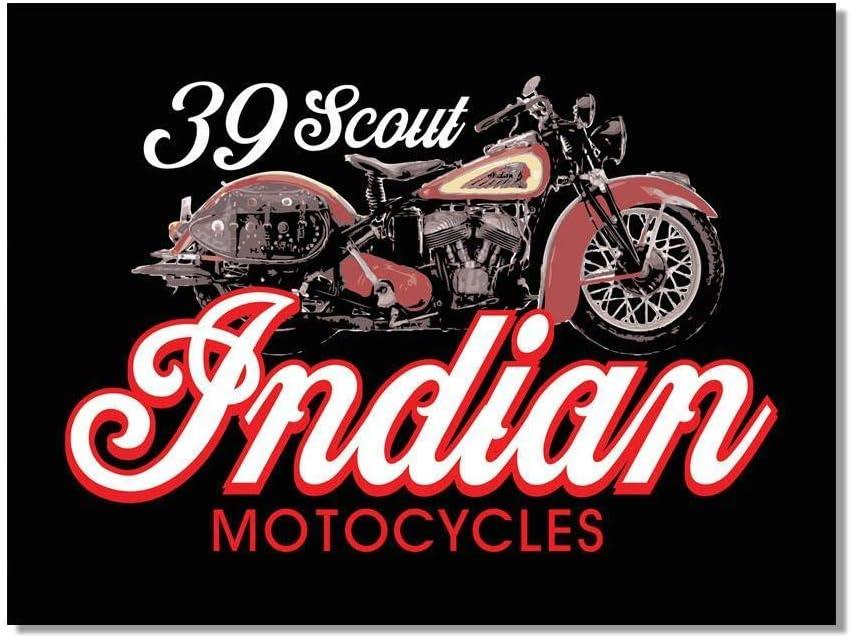 Lorenzo Scout Plaque en m/étal vintage en fer Motif moto indienne