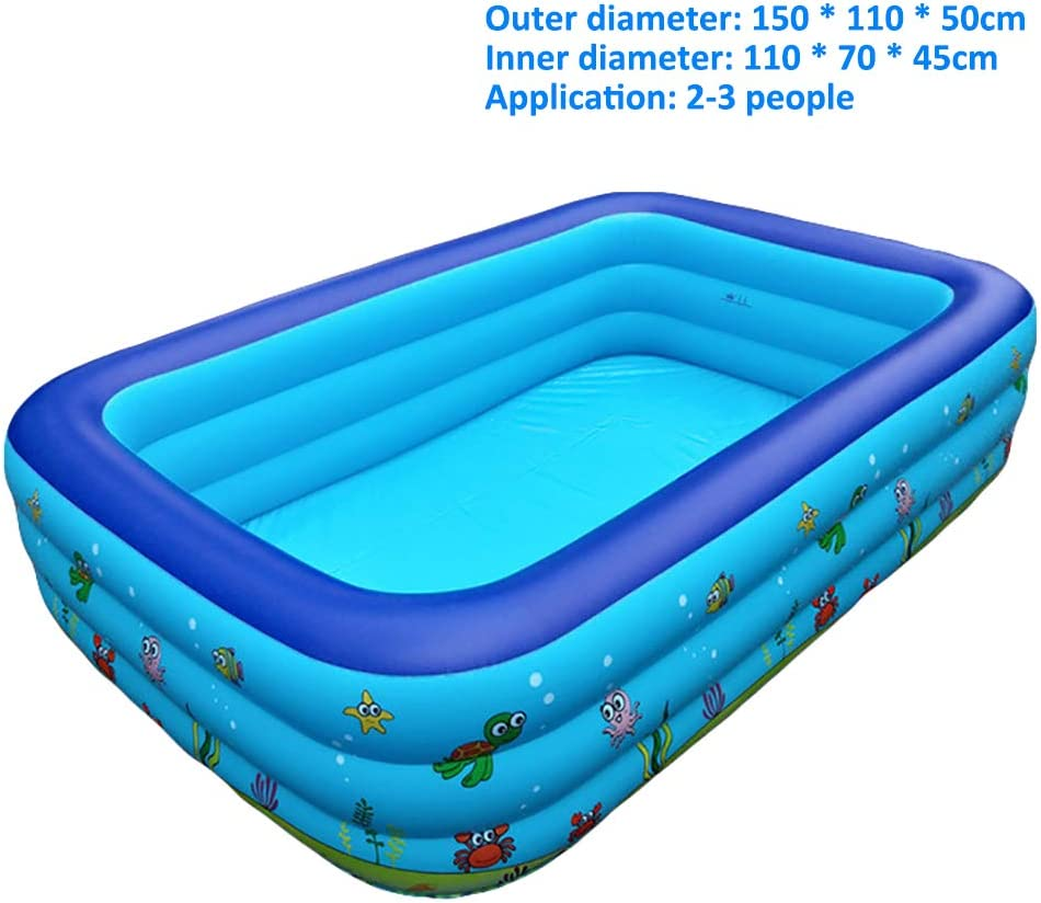 Piscina Hinchable Infantil, Piscinas De Tamaño Completo Easy Set Kiddie con Bomba Y Kit De Parches, para Los Niños, Adultos, Bebés, Niños(con Capacidad para 10 Personas),3layers 150X110X50CM
