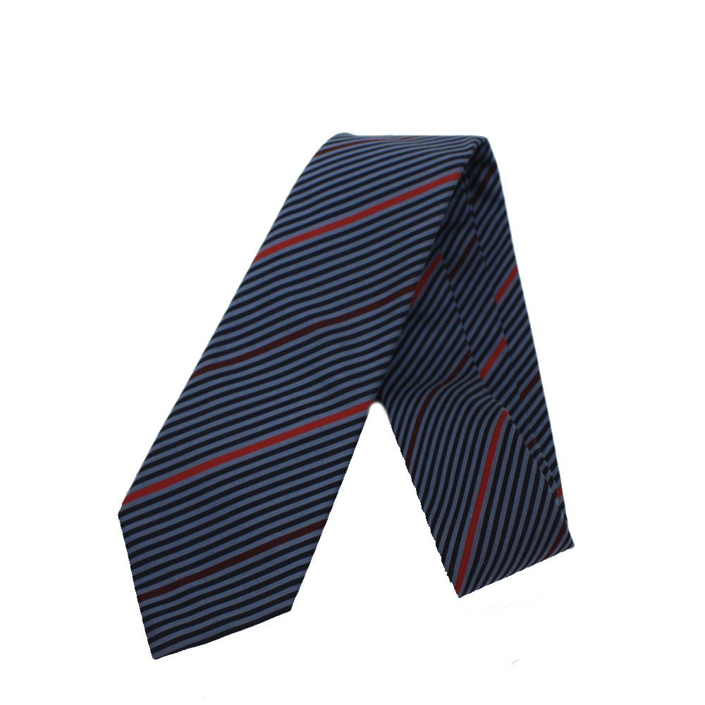 Gucci Men's Henning Stripped Periwinkle Blue / Red Necktie for Men 367506