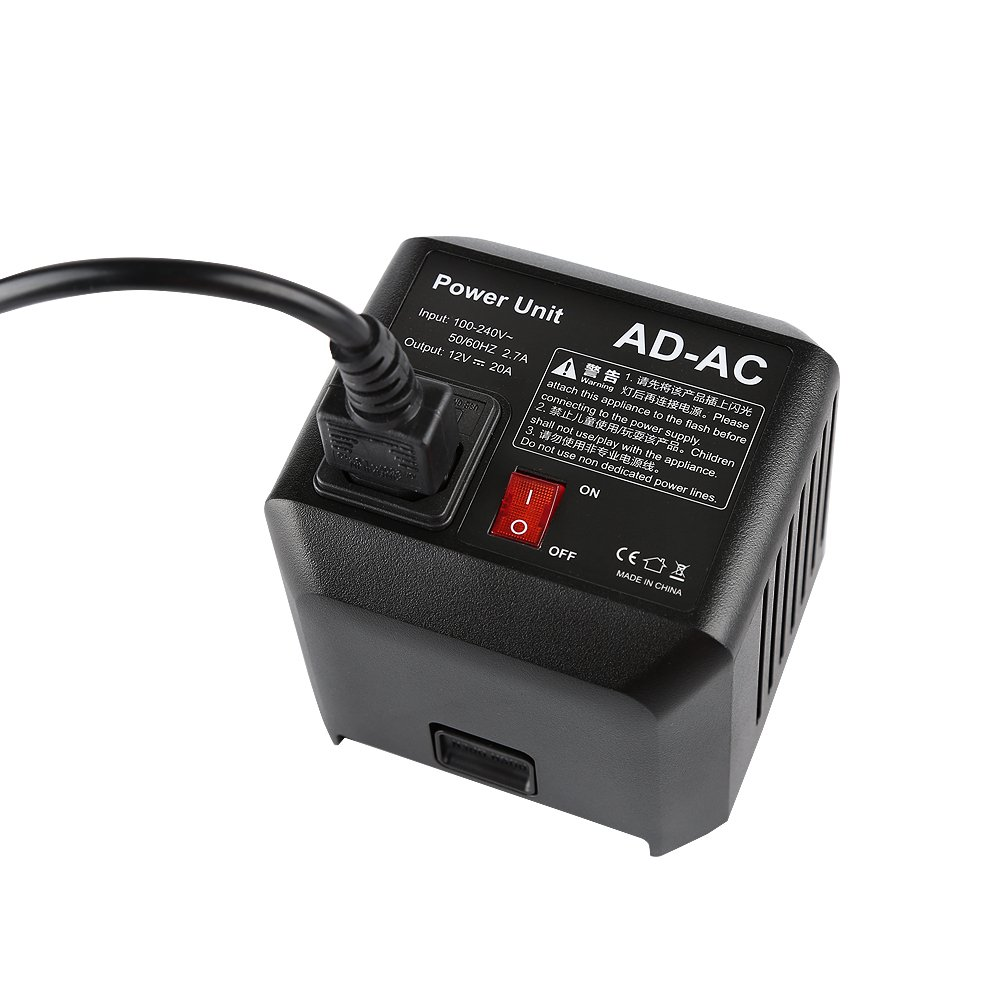 Godox AD600 AD-AC Power Source Adapter with 16.4'/5m Cable For Godox AD600 AD600B AD600M AD600BM Flashpoint XPLOR 600 Flash Monllights Strobe Lights