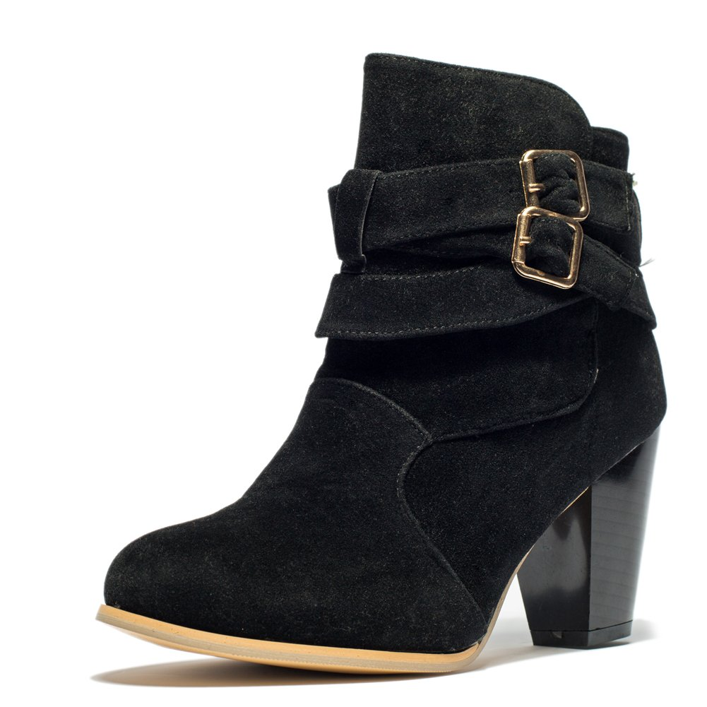 MORNISN Women's Buckle Strap Chunky Block Stacked Heel Ankle Booties by MORNISN