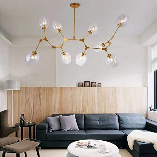 Modern Molecular Chandelier, E26 Nordic Bubble Ball Rotating Ceiling Light with Glass Lampshade, Pendent Lighting Rod Fixtures for Living Dining Room Bedroom Bar Bulbs Not Included Gold, 9 Lights