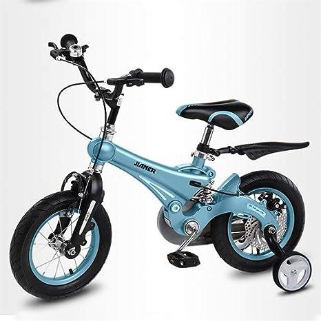 """JLASD Bicicleta En Niños De Bicicletas Tamaño 12"""" 14"""" 16"""" 18"""" Ajustable Niño De Los Niños De La Bicicleta con Rueda Auxiliar For 2-10 Años De Edad (Color : Blue, Size :"""
