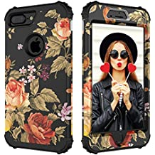 Case for iPhone 7 Plus,Case for iPhone 8 Plus,Digital Hutty 3 in 1 Shockproof Heavy Duty Full-Body Protective Cover for Apple iPhone 7 Plus,iPhone 8 Plus Flower