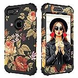 Case for iPhone 7 Plus,Case for iPhone 8 Plus,Digital Hutty 3 in 1 Shockproof Heavy Duty Full-body Protective Cover for Apple iPhone 7 Plus,iPhone 8 Plus Flower
