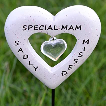Sadly Missed Special Mam Love Heart Memorial Tribute Stick Graveside Plaque