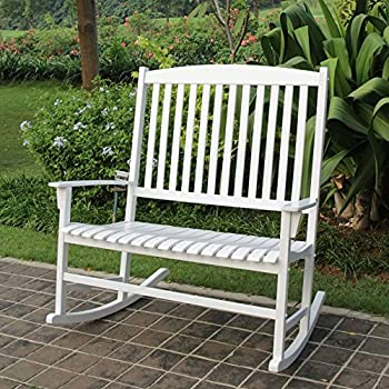 Genial Mainstays Solid Hardwood Outdoor Patio Double Rocking Chair, White, Seats 2
