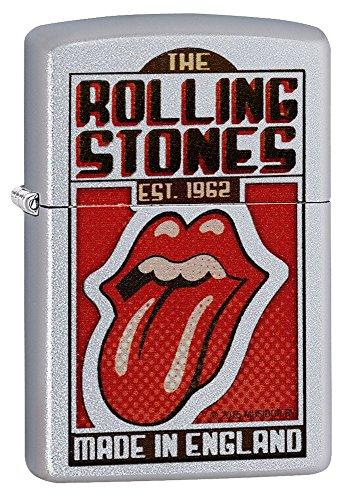 Zippo Rolling Stones Made in England Pocket Lighter, Satin Chrome