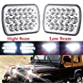 For 86-95 Jeep Wrangler YJ LED Projectors Headlights 7x6 Inch Rectangular Super Bright Headlamps H4652 H4656 H4666 H6545 Pack-2