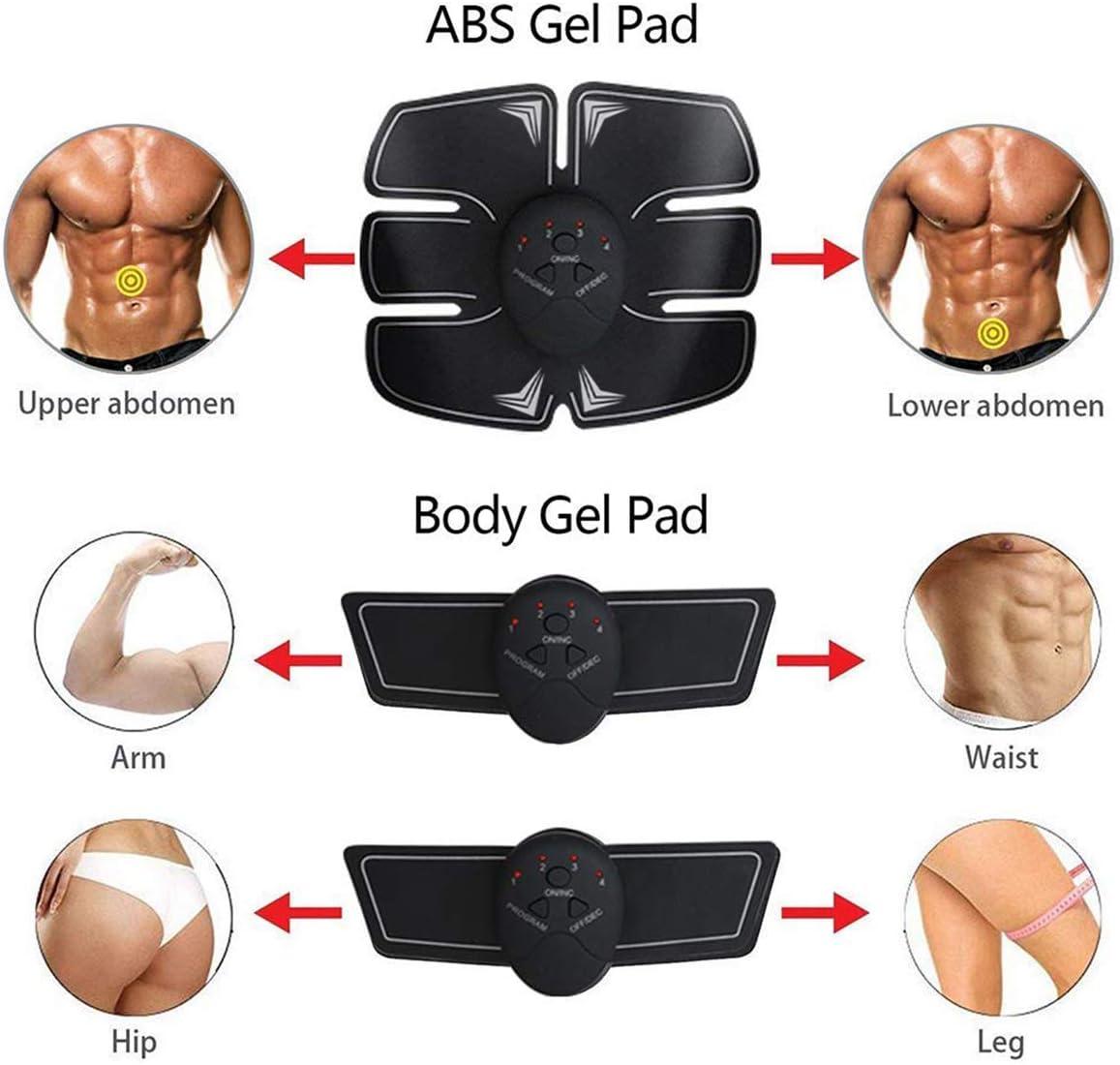 EMS Stimolatore Muscolare,6 modalit/à e 10 Livelli di Intensit/à Elettrostimolatore Muscolare Professionale per Braccio//Gambe//Glutei ZHENROG Elettrostimolatore per Addominali