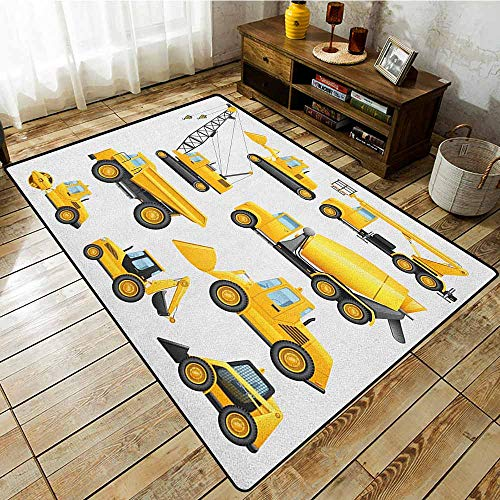 - Kids Rug,Boys,Abstract Images of Construction Vehicles and Machinery Trucks Bulldozer Crane,Rustic Home Decor,5'6