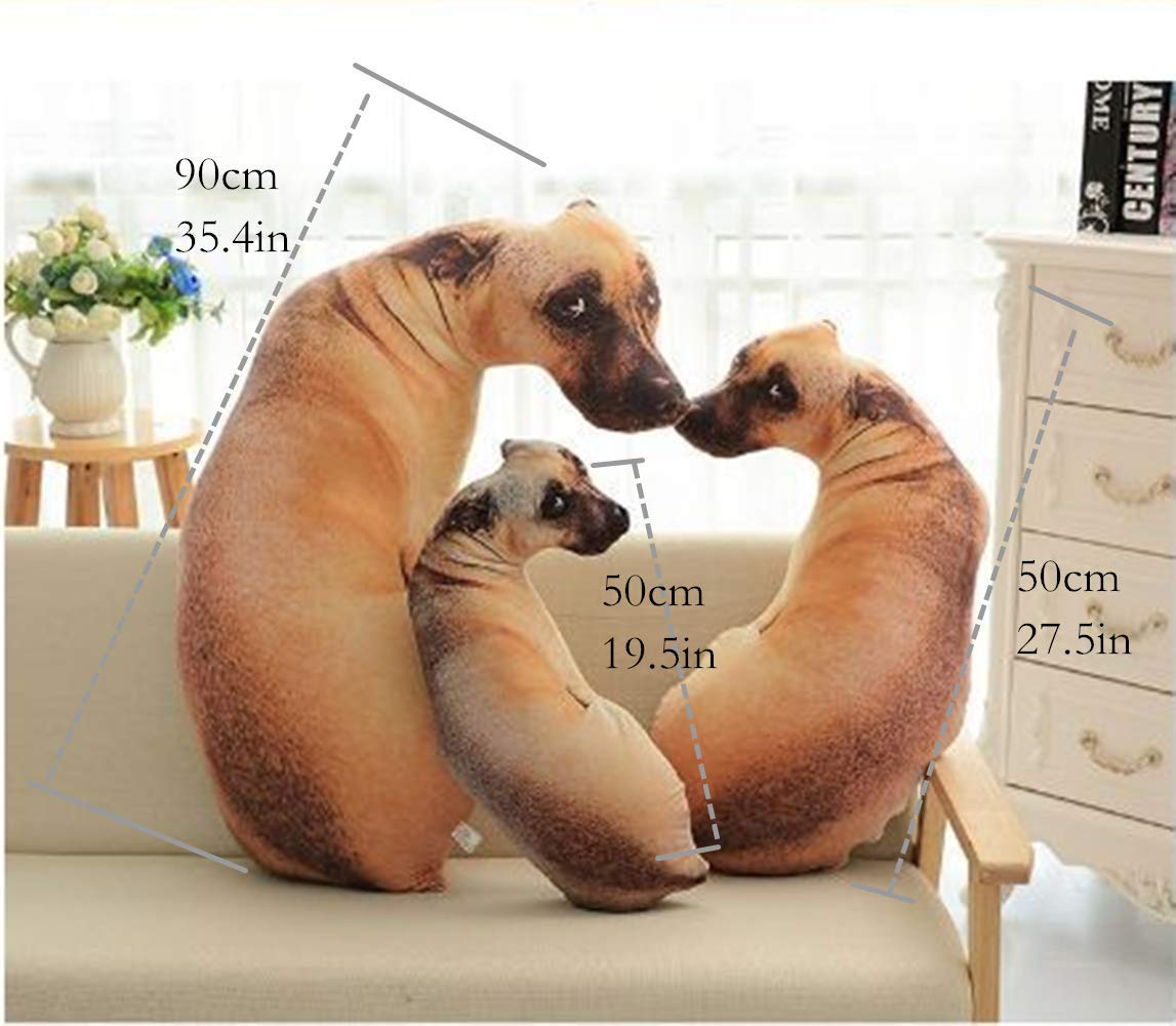 CUTESUN 3D Dog Shaped Throw Pillow 17 inch Soft Plush Toy Home Sofa Car Seat Decorative Pillow Pet Pillow