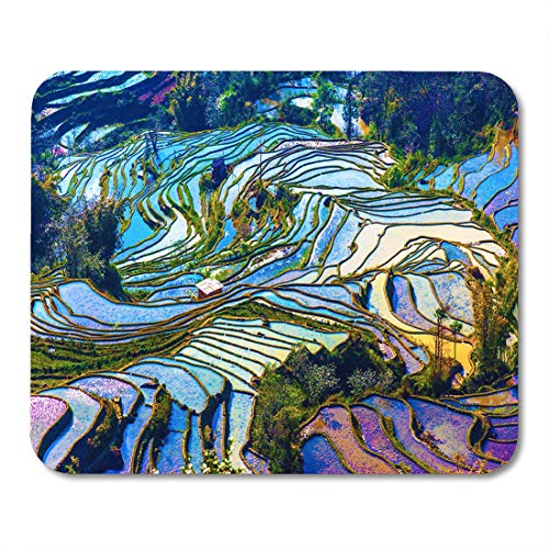 Semtomn Mouse Pad Green Scenery of Rice Terraces in Yunnan Province China Mousepad 9.8