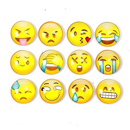 Shengchu - Juego de 12 imanes para Nevera con diseño de emoticonos ...