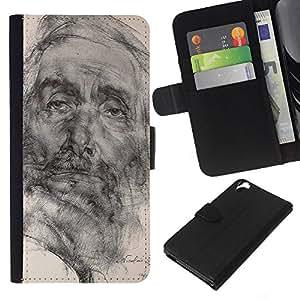 A-type (Drawing Pencil Portrait Old Man) Colorida Impresión Funda Cuero Monedero Caja Bolsa Cubierta Caja Piel Card Slots Para HTC Desire 820