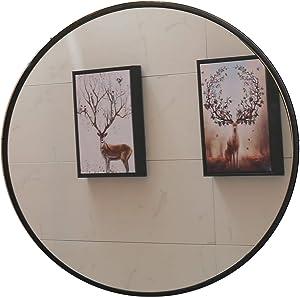 "Round Mirror, 35.5"" Wall Mirror, Wall-Mounted Mirror for Bedroom, Bathroom, Living Room & Entryway, 1.4"" Metal Frame Vanity Mirror, Black (35.5"