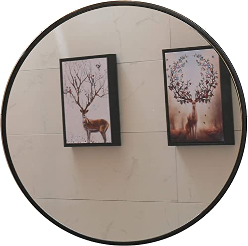Round Mirror, 35.5 Wall Mirror, Wall-Mounted Mirror for Bedroom, Bathroom, Living Room Entryway, 1.4 Metal Frame Vanity Mirror, Black 35.5