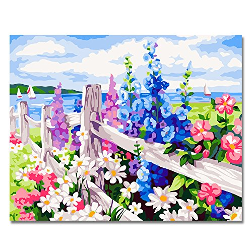 Rihe DIY Oil Painting Paint By Numbers Kits Mounted on Wood Frame with Brushes Painting Kits on Canvas for Adults Kids Flower Theme- Sea of Flowers 16x20 Inch(With Wood Frame)