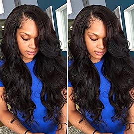 8A Grade Unprocessed Lace Front Wigs Human Hair Brazilian Virgin Remy Hair Body Wave Lace Wigs for Black Women with Full Pre Plucked Natural Hairline 130% Density (12INCH, Natural Black)