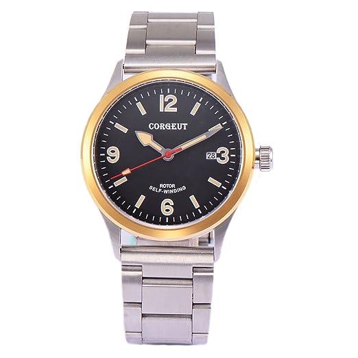corgeut sólido de cristal de zafiro correa de acero inoxidable automático de los hombres reloj mecánico: Amazon.es: Relojes