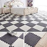 Pannow 9Pcs Interlocking Foam Floor Mats, Soft Velvet EVA Foam Kids Play Mat Set, Stitching Carpet Blanket Bedroom Rug Fitness Gym Mat