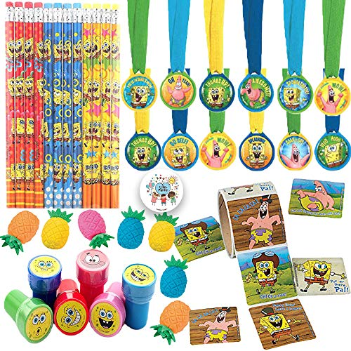 - Spongebob Squarepants Birthday Party Favors Pack For 12 With Spongebob Pencils, Stampers, Stickers, Pineapple Erasers, Medals, and Exclusive Pin By Another Dream