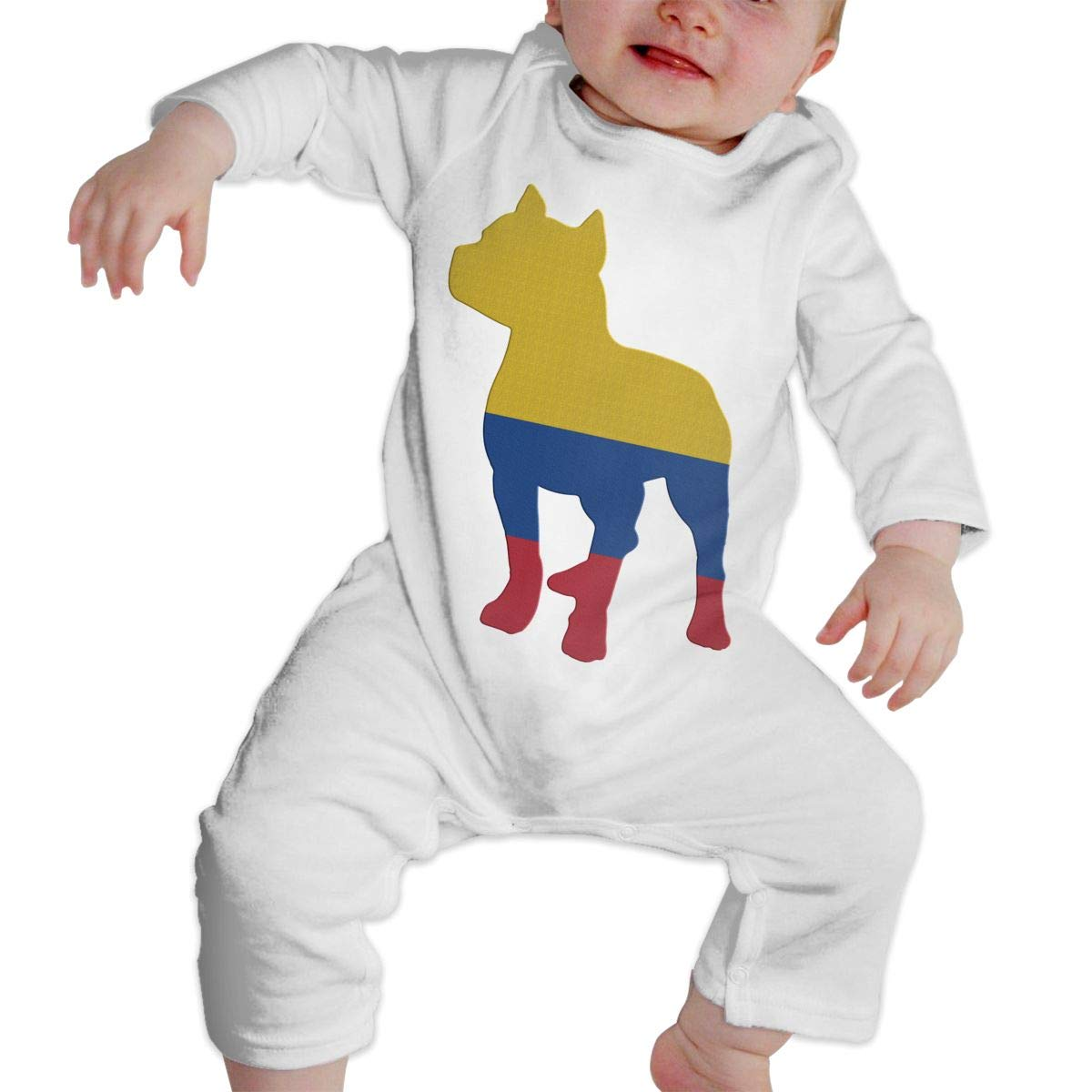 A1BY-5US Baby Infant Toddler Cotton Long Sleeve Patriotic Pitbull Colombia Flag Romper Bodysuit One-Piece Romper Clothes