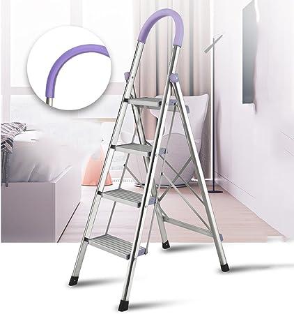XSJZ Escalera de Aluminio Escalera de Acero Inoxidable Escalera de Tubo Cuadrado Escalera Plegable de Acero Inoxidable Escalera Plegable telescópica Escalera de Mano (Color : A): Amazon.es: Hogar