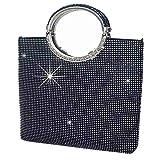 P&R Luxury Full Rhinestones Women's Fashion Evening Clutch Bag Party Prom Wedding Purse - Best Gife For Women (Black)