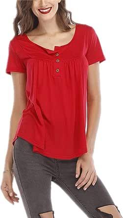 Mujer Blusa Camiseta Fluida Casual Elegante De Manga Corta Top Camisas con Cuello De Pico y Botón: Amazon.es: Ropa y accesorios