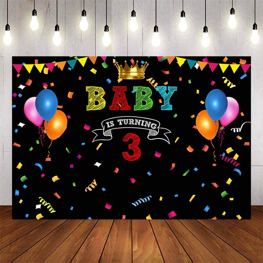 Mehofond Baby is Turning 3 Black Birthday Party Decoration Backdrop for Boy Girl Colorful Bunting Balloon Golden Crown Dessert Table Supplies Photography Background Vinyl Backdrop 7x5ft