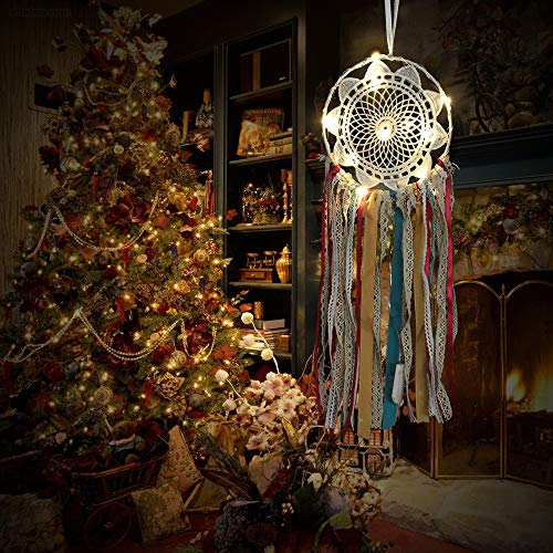 Weite Dream Catcher, Real Handmade Ribbon Dream Catcher with Bright String Lights, Exquisite Household Wall Hanging Car Hanging Ornament (White) by Weite (Image #3)