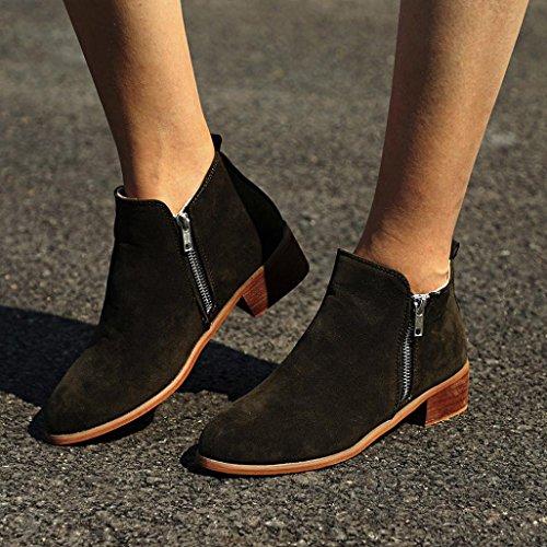 Talon Court Femmes Automne en Martin Chaussures Mi Mode Occasionnel zahuihuiM Zip Vert Chevalier Cuir Bottillons Xfw74xH4q