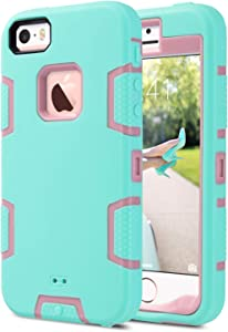 ULAK iPhone SE Case,iPhone 5S Case, iPhone 5 Case, Knox Armor Heavy Duty Shockproof Sport Rugged Drop Resistant Dustproof Protective Case Cover for Apple iPhone 5 5S SE-(Mint Green+Rose Gold)