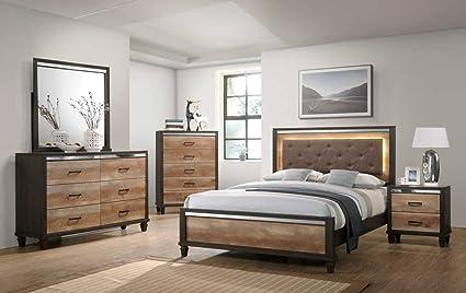 Amazon.com: GTU Furniture Striking Two Tone Wooden 5Pc King ...