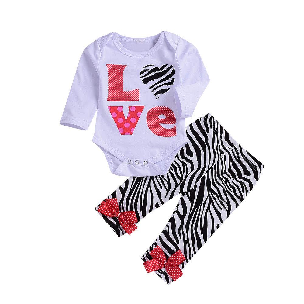 Jimmackey- Bambina 2pcs Neonata Completini, Bebè Maniche Lunghe Pagliaccetto Lettera Tutine Body + Bowknot Leopardo Pantaloni