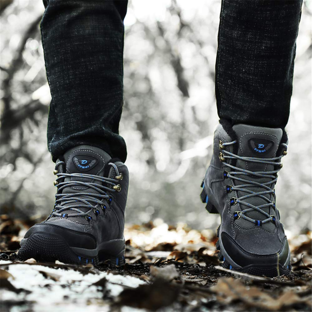 PEALAND Mens Winter Hiking Boots-Outdoor Non-Slip Trekking Hiking Shoes-Insulated Waterproof Fur Lined Snow Boots