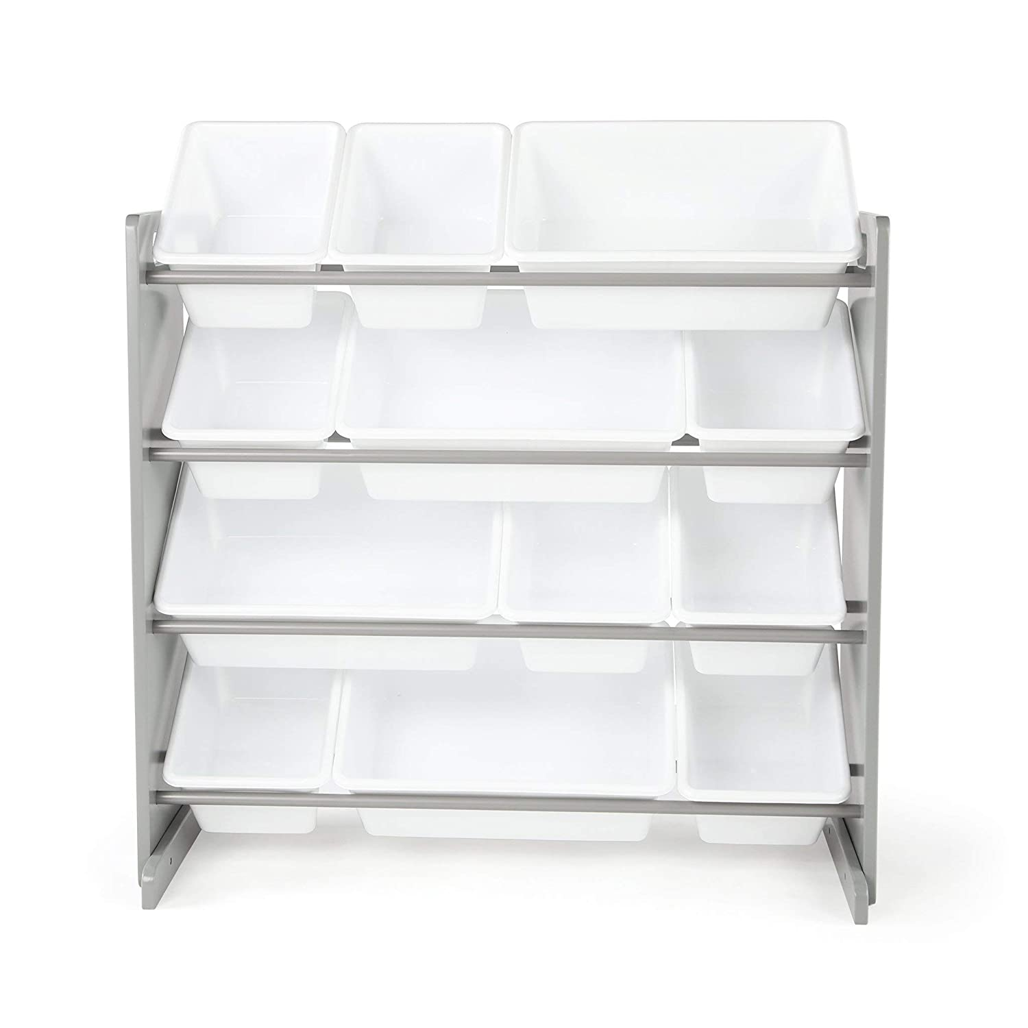 Tot Tutors Kids' Toy Storage Organizer with 12 Plastic Bins, Grey/White (Inspire Collection)