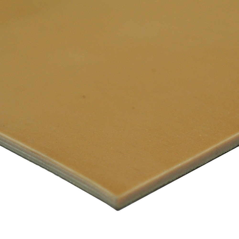 12 Width No Backing 40A Durometer Smooth Finish 0.125 Thickness 33-014-125-012-012 Pure Gum Rubber 12 Length Tan