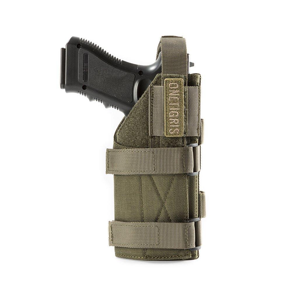 OneTigris 1000D Pistolera táctica para cinturón Molle de nailon para pistolas, marrón