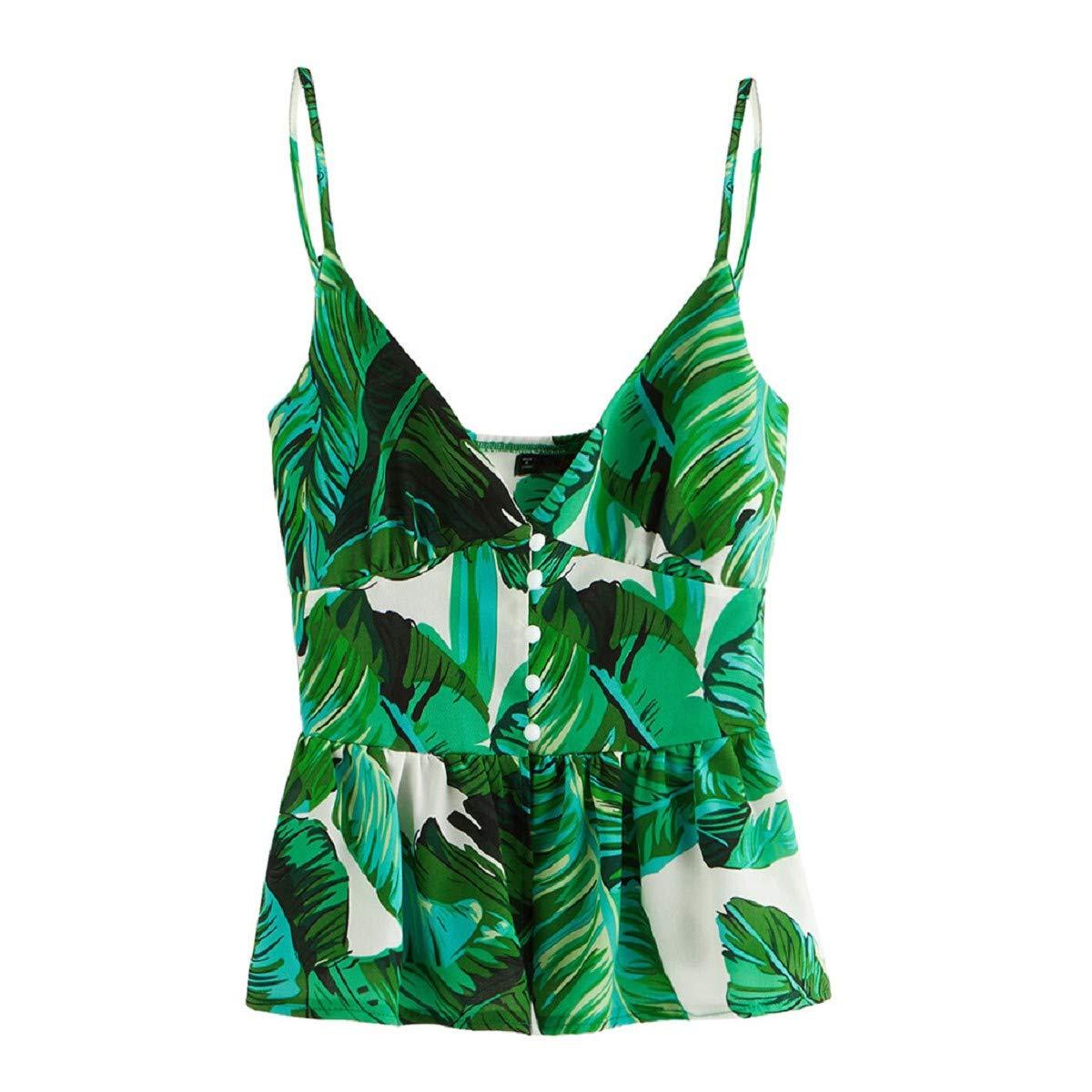 Women's Sexy V Neck Halter Spaghetti Strap Backless Cami Tank Tops Summer Sexy Shirts OTINICE Green