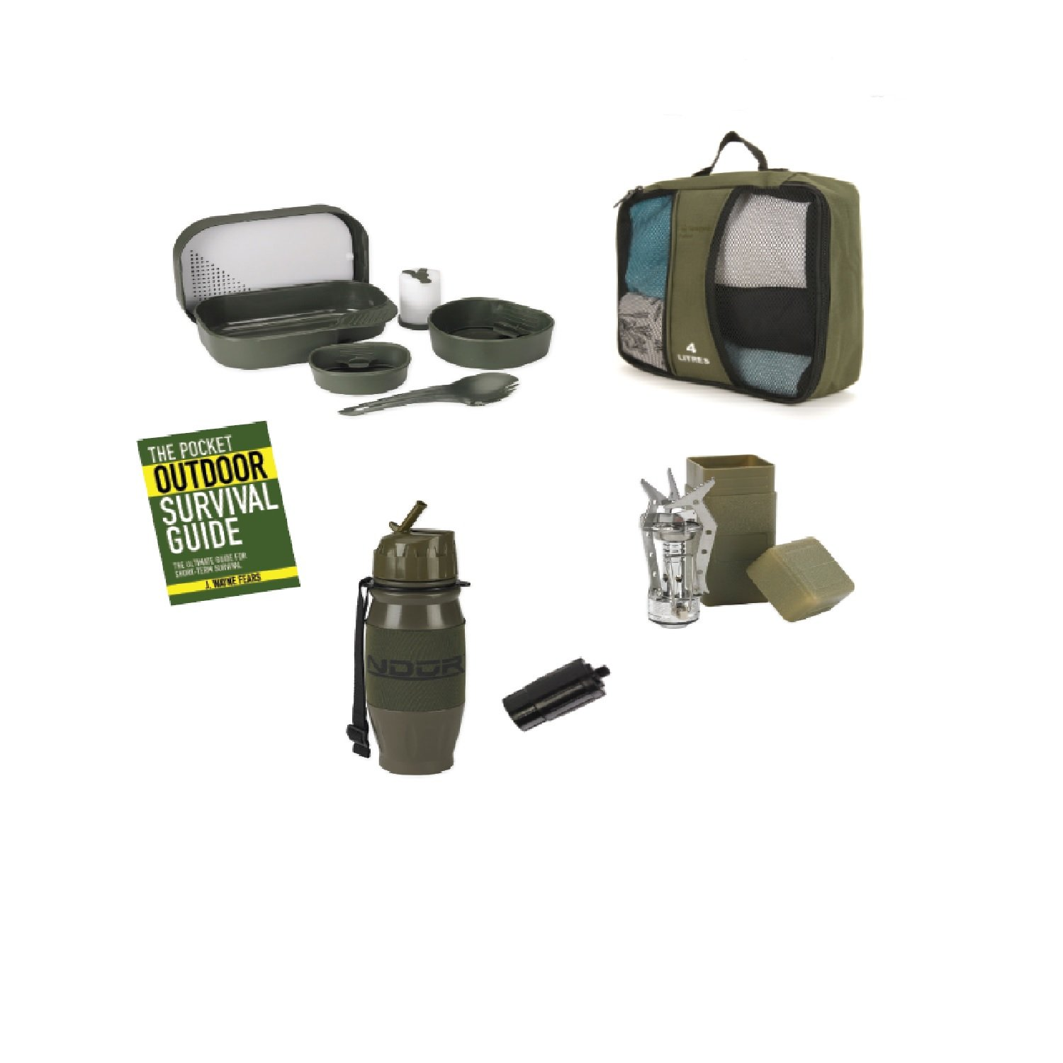 SnugPak Survival Camp Set in Carrying Case BUN102-OB Olive Sportsman Supply Inc 5 Piece
