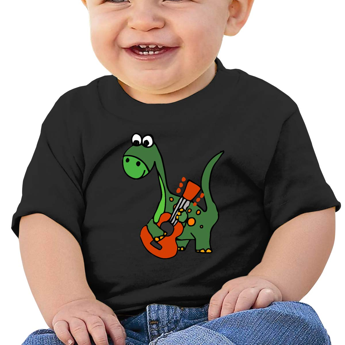 ZUGFGF-S3 Dinosaur Play Guitar Boy Girl Newborn Short Sleeve T-Shirt 6-24 Month Cotton Tops