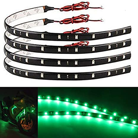 Everbright 4 Pack Green Led Strip Lights For Cars 30cm 5050 12 Smd Waterproof Car Underglow Lights Motorcycles Golf Cart Boat Decoration Led Interior