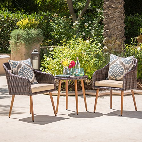 Christopher Knight Home 301847 Sarasota Outdoor Aluminum Framed Brown Wicker 3 Piece Chat Set with Be, Brown/Beige/Dark Brown (Iii Framed Set)