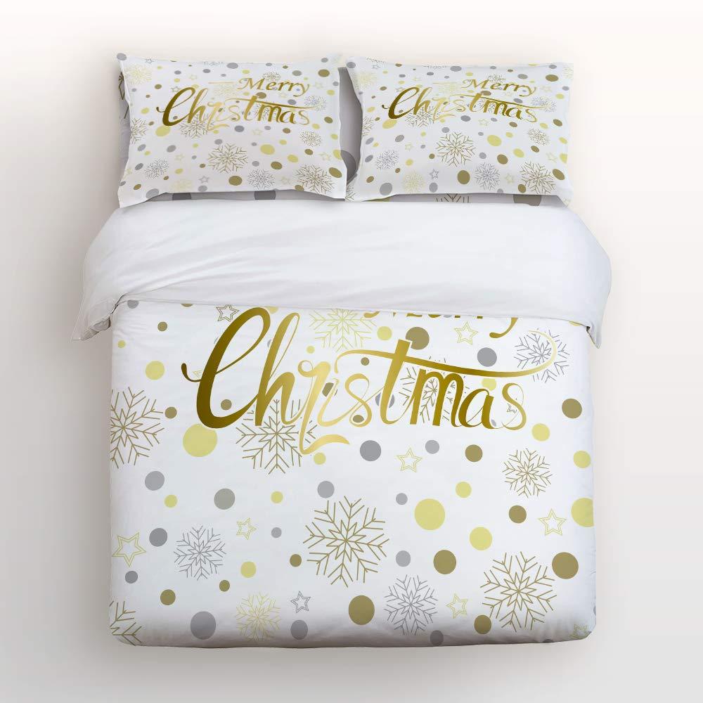 YEHO アートギャラリー 掛け布団カバー4点セット 掛け布団カバー1枚、ベッドシーツ2枚、枕カバー2枚、3Dラグビー フットボールプリント、洗濯可能ラグジュアリー寝具セット Queen Size 20181028whlyagsjtsjSCRY00658SJTCYAG B07JYTNLB8 Christmas-013yag2324 Queen Size